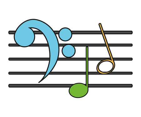 Music note icon. Sound melody pentagram and musical theme. Isolated design. Vector illustration Illustration