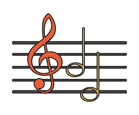 pentagramma musicale: Music note icon. Sound melody pentagram and musical theme. Isolated design. Vector illustration Vettoriali