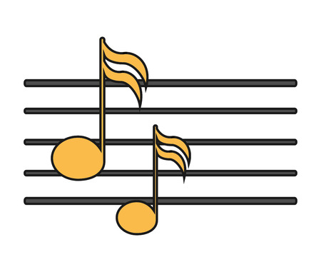 pentagrama musical: Music note icon. Sound melody pentagram and musical theme. Isolated design. Vector illustration Vectores