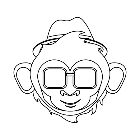 ape: Monkey cartoon with hat and glasses icon. Animal wildlife ape and primate theme. Isolated design. Vector illustration Illustration