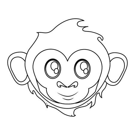 ape: Monkey cartoon face icon. Animal wildlife ape and primate theme. Isolated design. Vector illustration Illustration