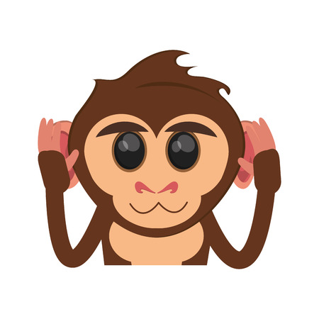 ape: Monkey cartoon icon. Animal wildlife ape and primate theme. Isolated design. Vector illustration