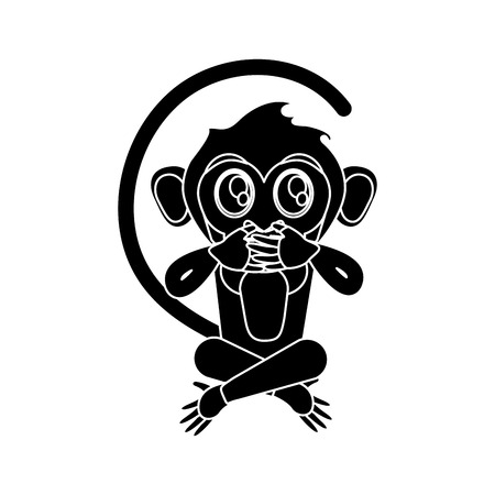 ape: Monkey cartoon silhouette icon. Animal wildlife ape and primate theme. Isolated design. Vector illustration