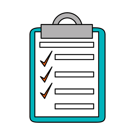 office paper: Checklist with checkmark icon. Office paper form and document theme. Isolated design. Vector illustration