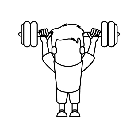 bodycare: Man cartoon lifting weight icon. Fitness gym bodybuilding bodycare and fit theme. Isolated design. Vector illustration