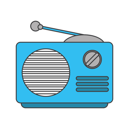 melody: Radio device icon. music sound melody and musical theme. Isolated design. Vector illustration