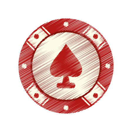 losing money: Chip icon. Casino las vegas game and lucky theme. Isolated design. Vector illustration