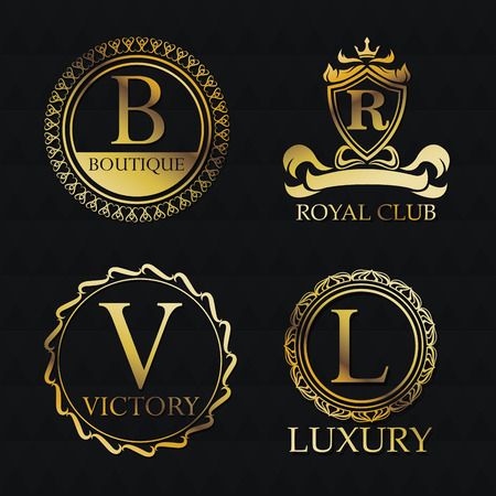 privilege: Gold emblem icon set. Exclusive rich club glamour and member theme. Black polygonal background. Vector illustration
