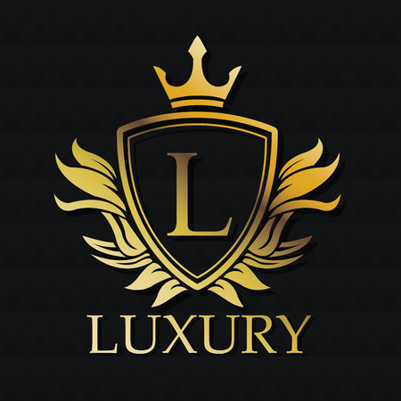 Luxury gold emblem icon. Exclusive rich club glamour and member theme. Black polygonal background. Vector illustration