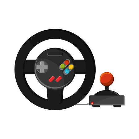 obsession: Videogame wheel icon. Game play leisure gaming and controller theme. Isolated design. Vector illustration
