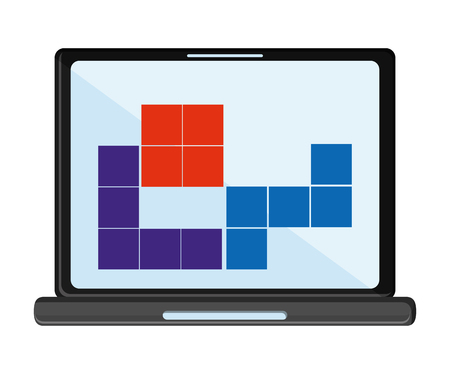 obsession: Laptop  videogame icon. Game play leisure gaming and controller theme. Isolated design. Vector illustration
