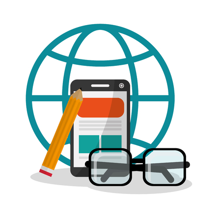 Smartphone and glasses icon. Digital marketing media ecommerce seo and business theme. Isolated design. Vector illustration