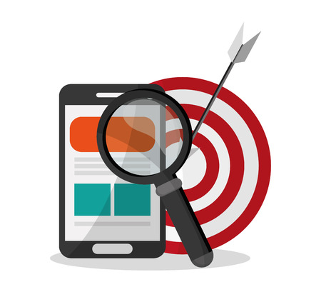 information medium: Smartphone and target icon. Digital marketing media ecommerce seo and business theme. Isolated design. Vector illustration