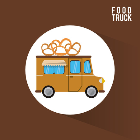 Pretzel food truck icon. Urban american culture menu and consume theme. Colorful design. Vector illustration Illustration
