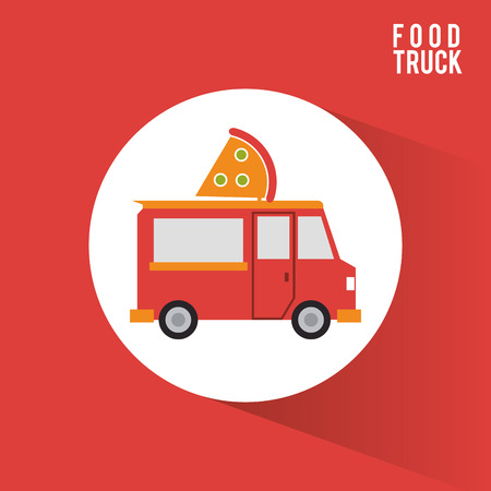 Pizza food truck icon. Urban american culture menu and consume theme. Colorful design. Vector illustration Illustration