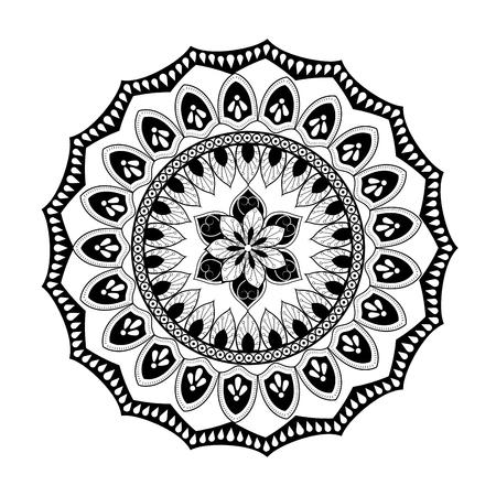 Mandale icon. Bohemic ornament indian and decoration theme. Black and white design. Vector illustraton