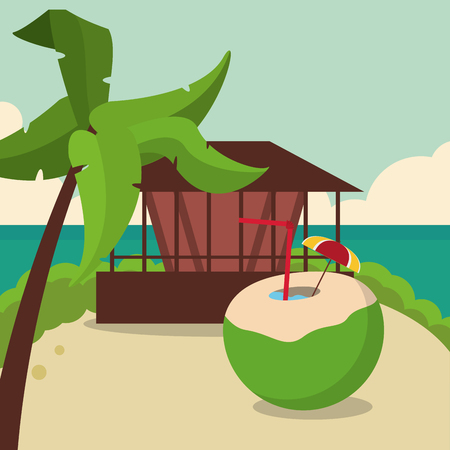Coconut house and palm tree icon. Vacations beach and summer and theme. Colorful design. Vector illustration Illustration
