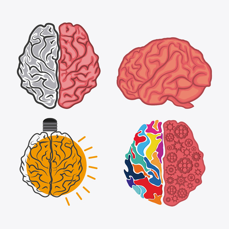 Brain and light bulb icon. Creative teamwork and big idea theme. Colorful and isolated design. Vector illustration Illustration
