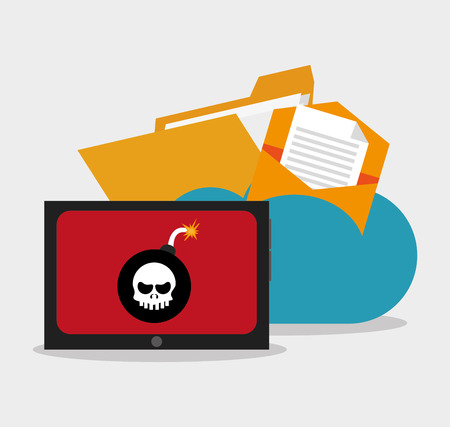 malware: File tablet and cloud icon. Security data and cyber system theme. Colorful design. Vector illustration