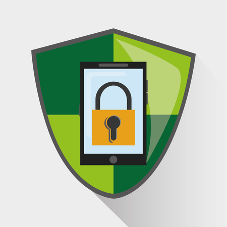 malware: Padlock smartphone and shield icon. Security data and cyber system theme. Colorful design. Vector illustration