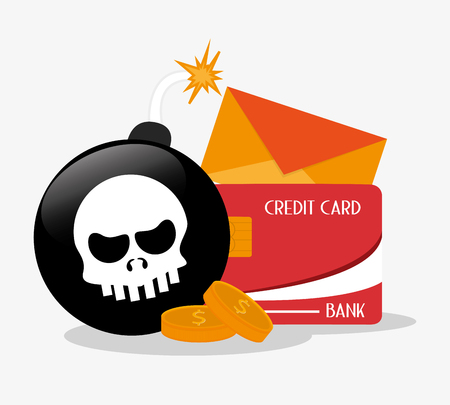 Skull bomb coins envelope and credit card icon. Security data and cyber system theme. Colorful design. Vector illustration