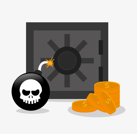 strongbox: Strongbox bomb and coins icon. Security data and cyber system theme. Colorful design. Vector illustration