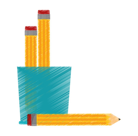 secretarial: mug and pencil tool icon. Write office object and instrument theme. Isolated design. Vector illustration