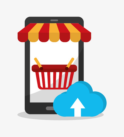 information medium: Smartphone cloud and basket icon. Digital marketing media ecommerce seo and business theme. Isolated design. Vector illustration