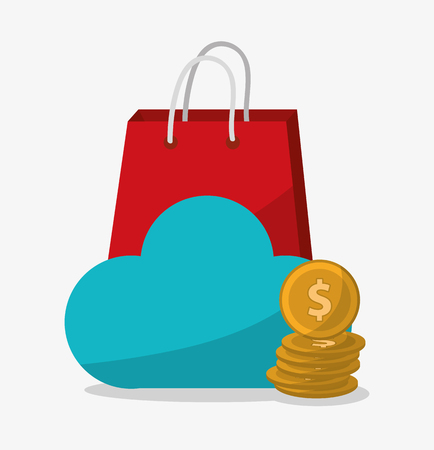 Cloud computing and bag icon. Digital marketing media ecommerce seo and business theme. Isolated design. Vector illustration