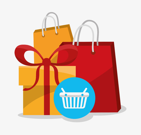 information medium: Bag and gift icon. Digital marketing media ecommerce seo and business theme. Isolated design. Vector illustration