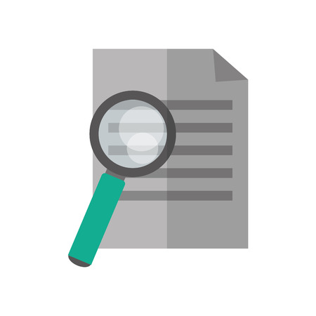 glass paper: Lupe tool and paper icon. Search magnifying glass zoom and lens heme. Isolated design. Vector illustration