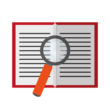 zoom: Lupe tool and book icon. Search magnifying glass zoom and lens heme. Isolated design. Vector illustration