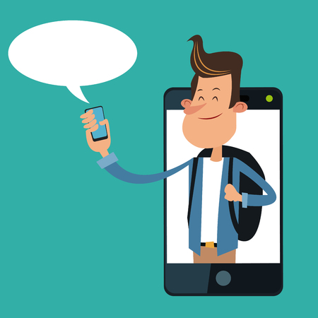 Cartoon boy with smartphone icon. Mobile lifestyle technology and communication theme. Colorful design. Vector illustration