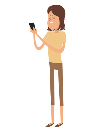 Cartoon girl with smartphone icon. Mobile lifestyle technology and communication theme. Colorful design. Vector illustration Illustration