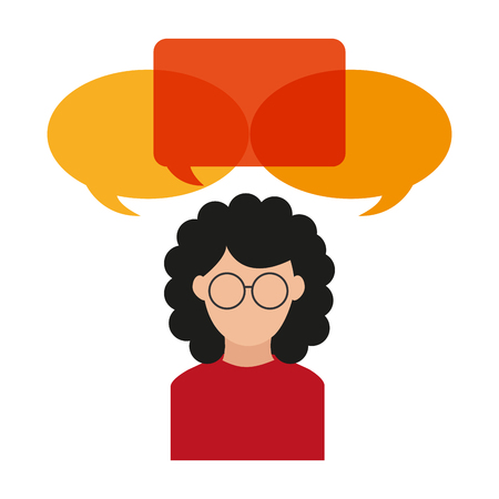 Bubble and avatar woman icon. Communication message discussion and conversation theme. Isolated design. Vector illustration