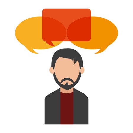 Bubble and avatar man icon. Communication message discussion and conversation theme. Isolated design. Vector illustration