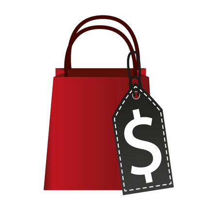 paying: Bag icon. Shopping commerce market and store theme. Isolated design. Vector illustration