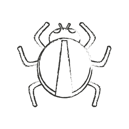 parasitic: Bug icon. Insect pest bed infestation and parasite theme. Isolated design. Vector illustration