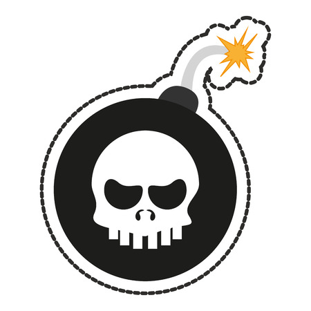 malware: Skull and bomb icon. Security system warning protection and danger theme. Isolated design. Vector illustration