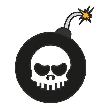 Skull inside bomb icon. Security system warning protection and danger theme. Isolated design. Vector illustration