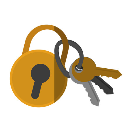 Padlock and keys icon. Security system warning protection and danger theme. Isolated design. Vector illustration Illustration