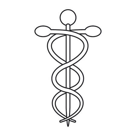 urgent care: Caduceus icon. Medical and health care theme. Isolated design. Vector illustration Illustration
