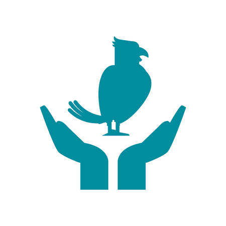 bonding: Bird over hands icon. Pet animal domestic and care theme. Isolated design. Vector illustration