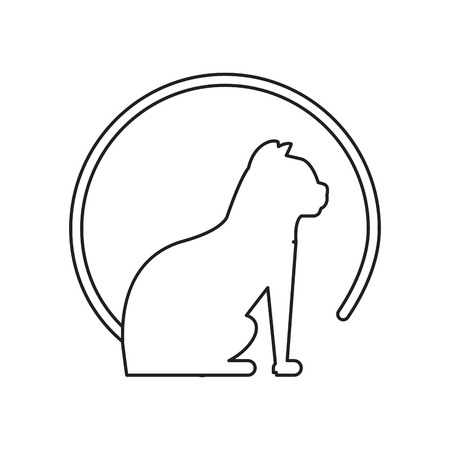 trusting: Cat silhouette icon. Pet animal domestic and care theme. Isolated design. Vector illustration