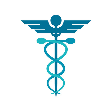Caduceus icon. Medical and health care theme. Isolated design. Vector illustration Illustration