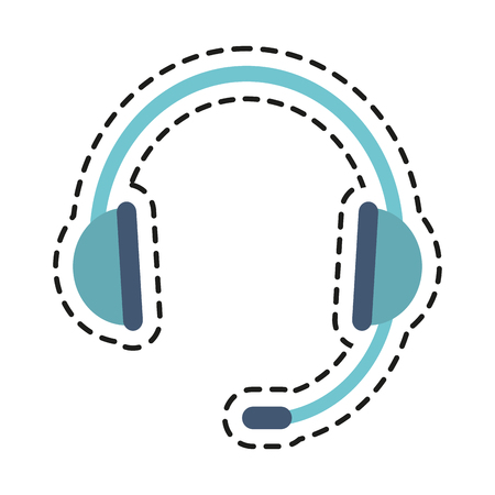 telemarketing: Headphone icon. Technical service online support service and telemarketing theme. Isolated design. Vector illustration