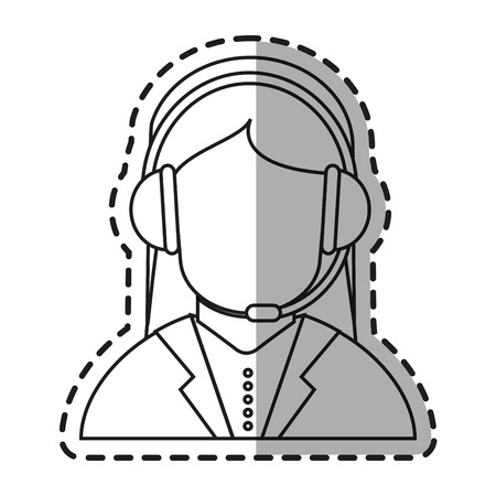 Operator woman icon. Technical service online support service and telemarketing theme. Isolated design. Vector illustration