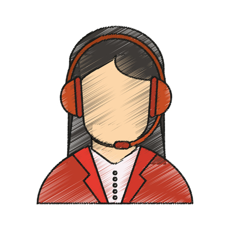 telemarketing: Operator woman icon. Technical service online support service and telemarketing theme. Isolated design. Vector illustration