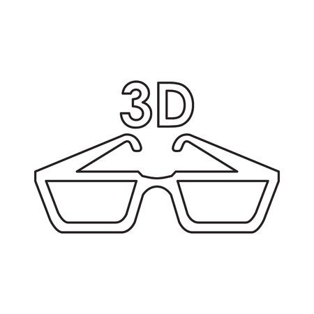 3d glasses icon. Cinema movie video film and media theme. Isolated design. Vector illustration Illustration
