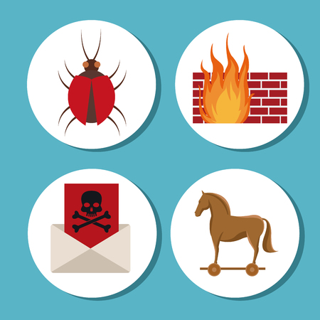 Horse bug envelope and wall icon. Cyber security system warning and protection theme. Vector illustraton